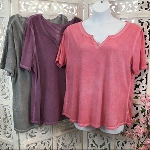 (3) Terra & Sky Notch Neck Relaxed Fit T-shirts 1X